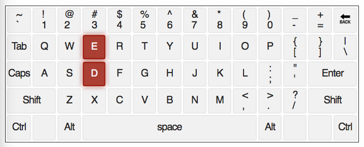 image of keyboard with the d and e keys highlighted