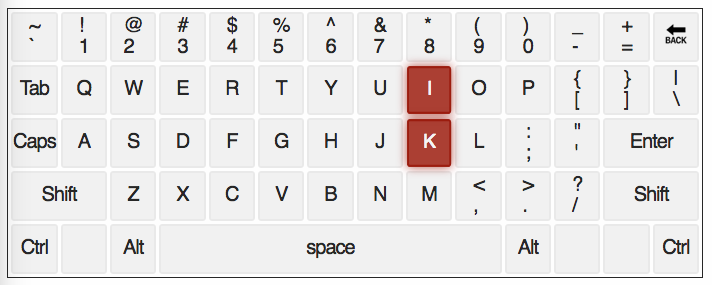 qwerty keyboard with letters K and I highlighted