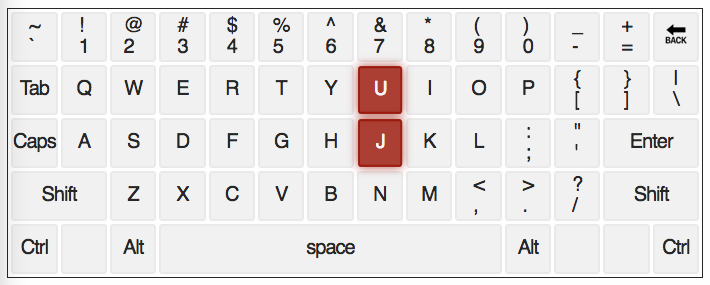 qwerty keyboard with letters J and U highlighted