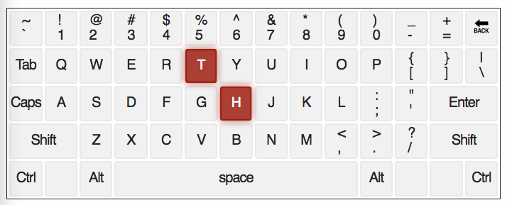qwerty keyboard with letters T and H highlighted