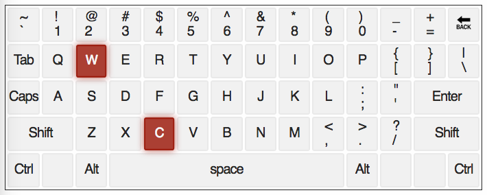 qwerty keyboard with letters C and W highlighted