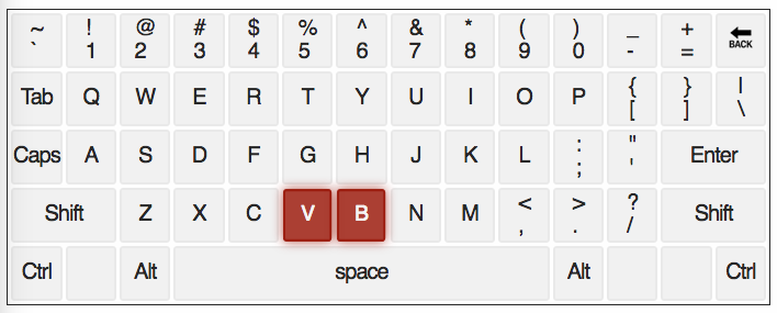 qwerty keyboard with letters B and V highlighted