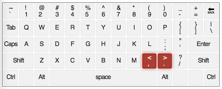 qwerty keyboard with , & . keys highlighted