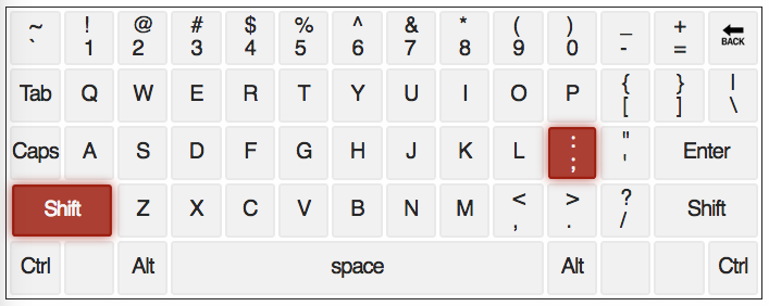 qwerty keyboard with ; & : keys highlighted
