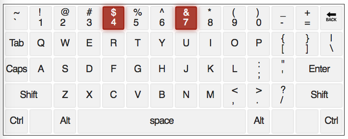 qwerty keyboard with numbers 4 and 7 highlighted