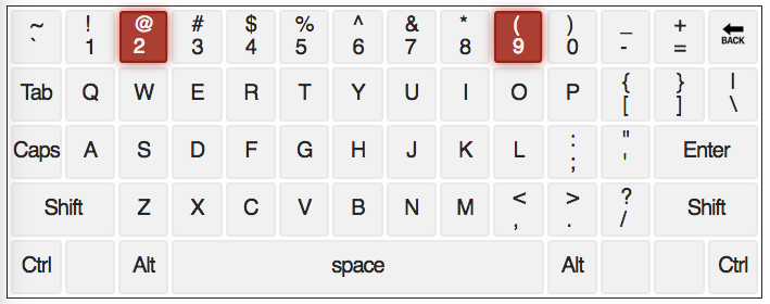 qwerty keyboard with numbers 2 and 9 highlighted