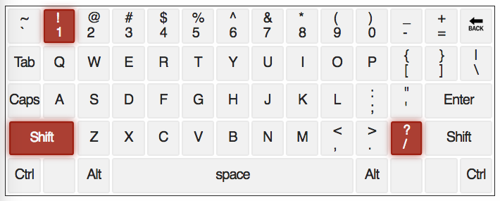 qwerty keyboard with ! & ? keys highlighted