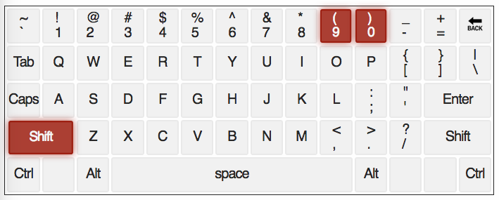 qwerty keyboard with ( and ) keys highlighted