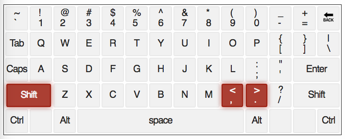 qwerty keyboard with < & > Keys highlighted