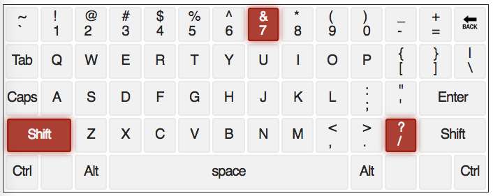qwerty keyboard with * & / Keys highlighted