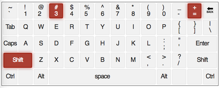 qwerty keyboard with # and = Keys highlighted