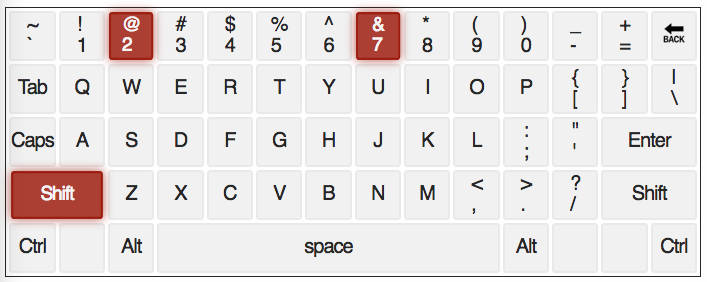 qwerty keyboard with @ and & Keys highlighted