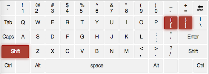 qwerty keyboard with the { and } keys highlighted