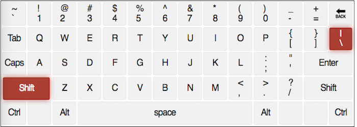 qwerty keyboard with the \ and | keys highlighted