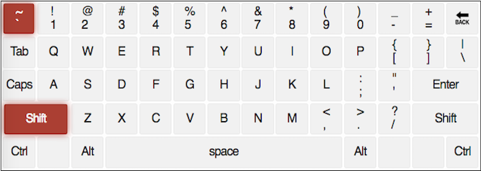 qwerty keyboard with the ` and ~ keys highlighted